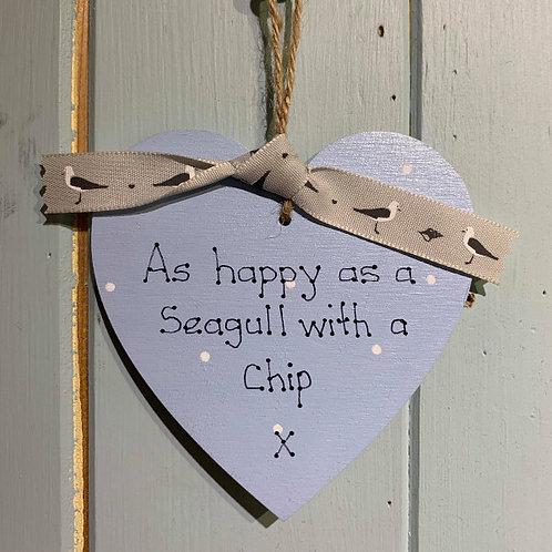Happy Seagull Wooden Heart