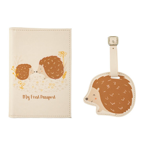 Sass & Belle hedgehog Passport holder and luggage tag