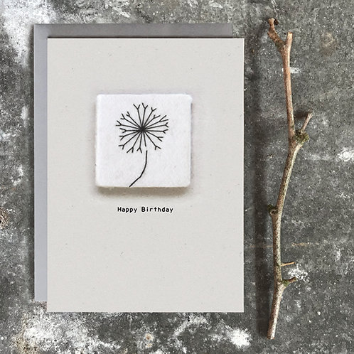 East of India Embroidered card - Happy birthday