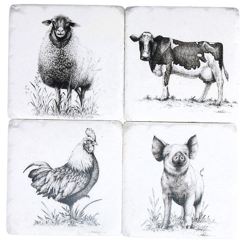 Gisela Graham resin coasters – farmyard portraits