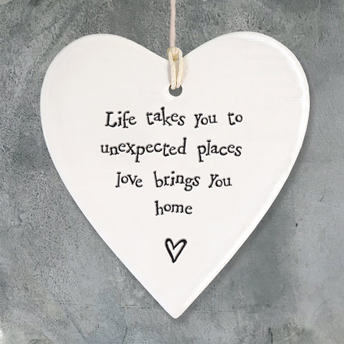 East of India Porcelain Heart. Life takes you to unexpected places