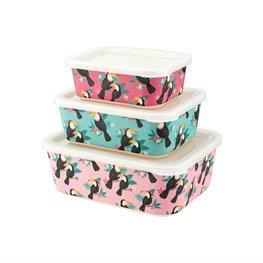 Sass & Belle Tiki Toucan Bamboo Lunch Boxes