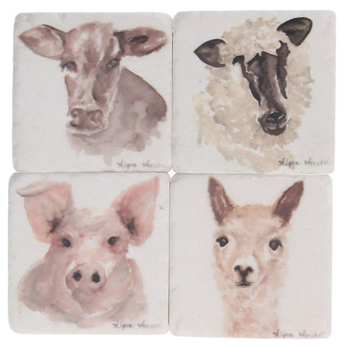 Gisela Graham resin coasters – farm animals