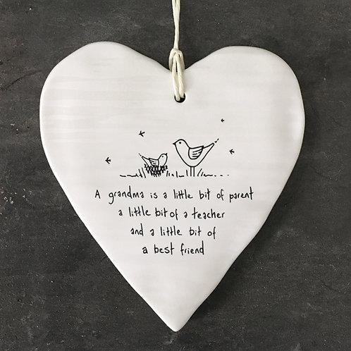East of India Porcelain Heart. Grandma