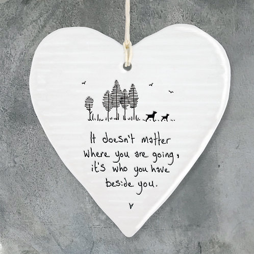 East of India Porcelain Heart. It doesn't matter where you are going
