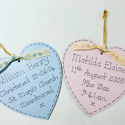 Personalised Birth or Christening Heart