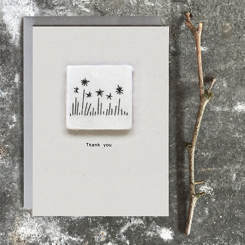 East of India Embroidered card - Thank you