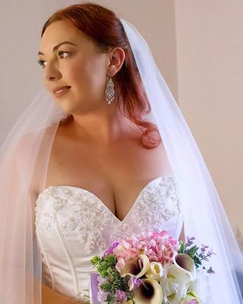 Soft glam bridal with cascade curls