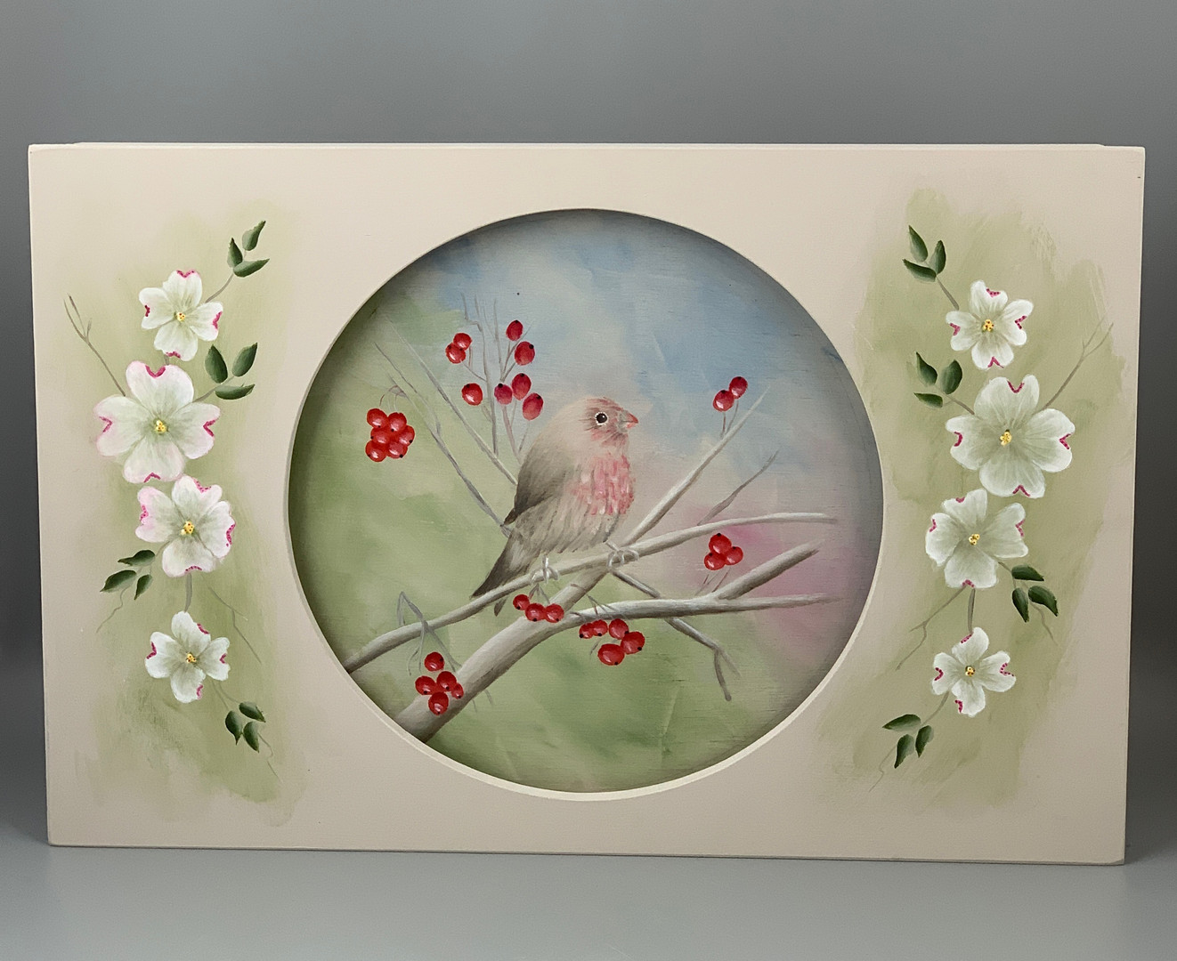Purple Finch and Dogwood Blossoms