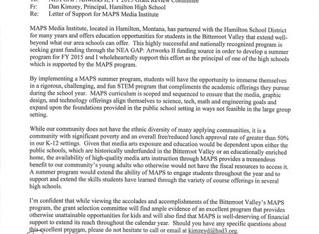 LETTER FROM HAMILTON HIGH SCHOOL PRINCIPAL