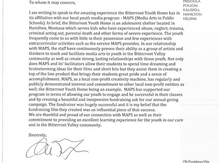 LETTER FROM BITTERROOT YOUTH HOME