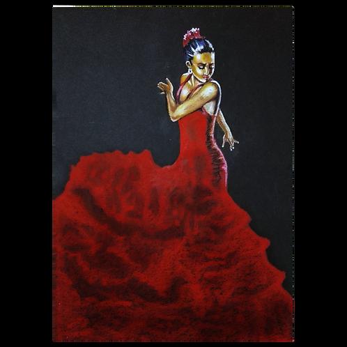 Oil Pastel  Spanish Flamenko Dans