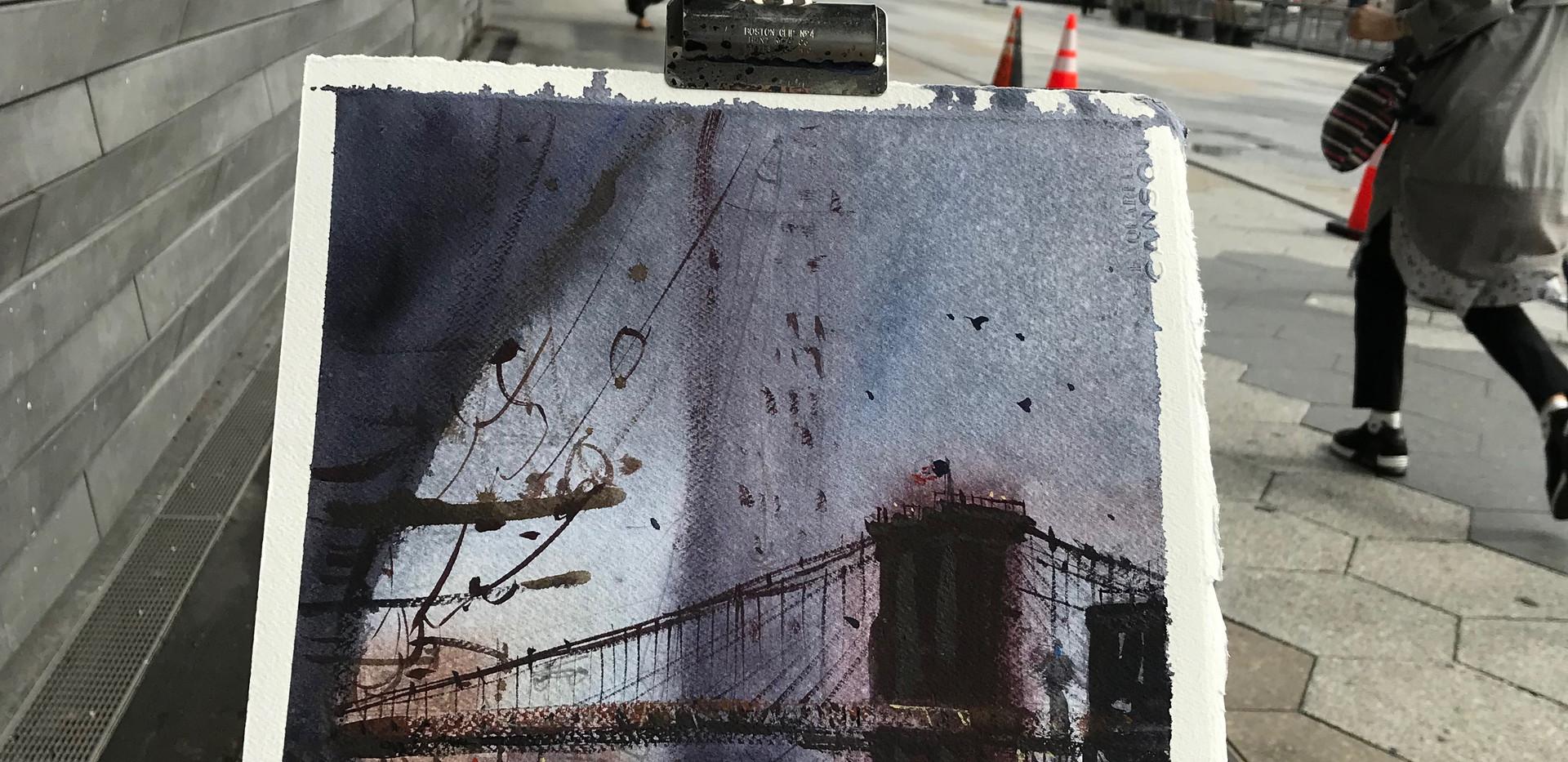 Brooklyn Bridge on rainy day