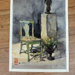 Vintage Chair and The Statue