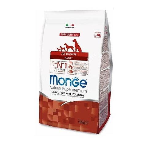 MONGE корм для собак всех пород ягненок 2,5 кг.