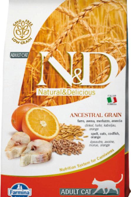 Farmina N&D корм для взрослых кошек 0,3 кг. треска, апельсин