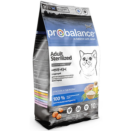 ProBalance Корм для стерилизованных кошек (Про Баланс) с курицей 10 кг.