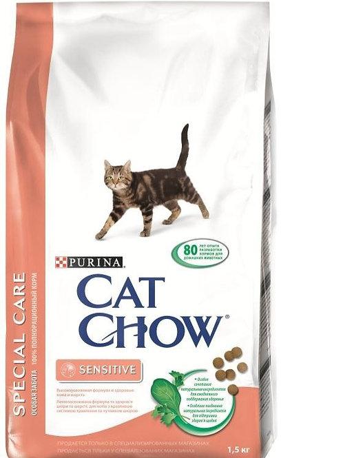 Kat Chaw Sensitive (Кэт Чау) корм для кошек, чувствительное пищеварение 1,5 кг.
