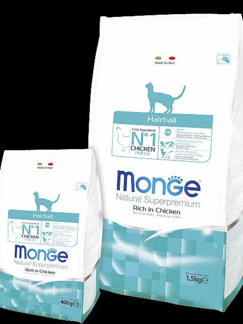 MONGE корм для кошек выведение комков шерсти курица 400 гр.