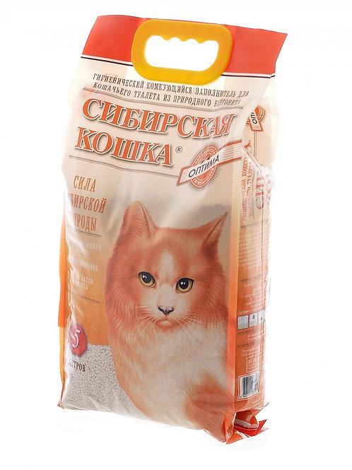 Сибирская Кошка Оптима комкующийся наполнитель 5л.