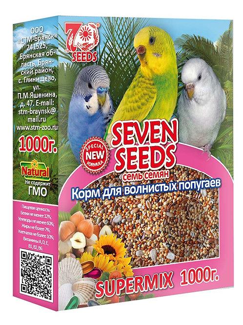 Семь Семян (Seven Seeds) Супермикс корм для волнистых попугаев 1 кг.