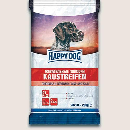 Happy Dog лакомство для собак жевательные полоски с говядиной 200 гр.