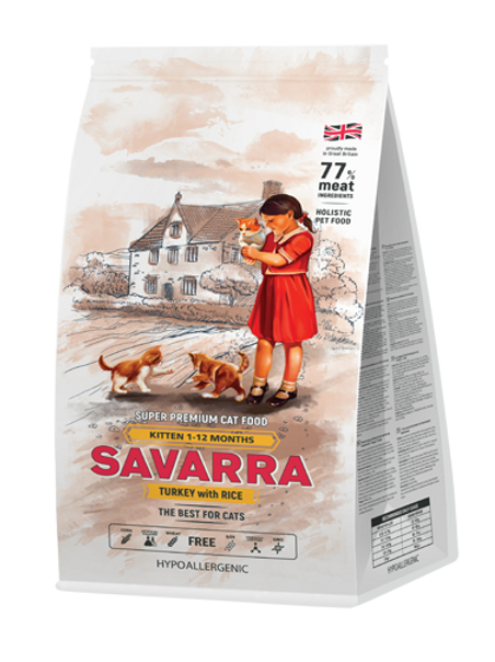 Savarra Kitten корм для котят индейка, рис 400 гр.
