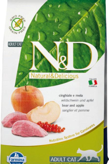 Farmina N&D Беззерновой корм для кошек кабан, яблоко 0,3 кг.