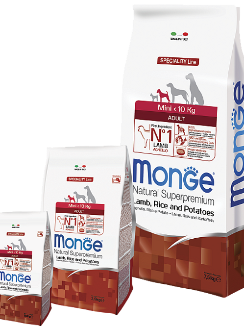 MONGE корм для собак мелких пород ягненок 2,5 кг.