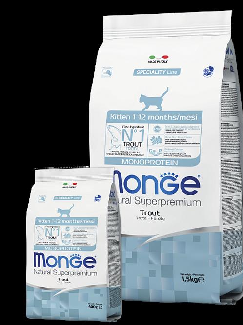 MONGE корм для котят с форелью 400 гр.