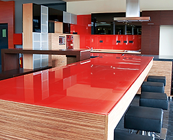 Red Coated Glass Counter Top