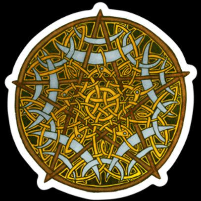 "Golden Pentacle - 3""x3"" Magnet"