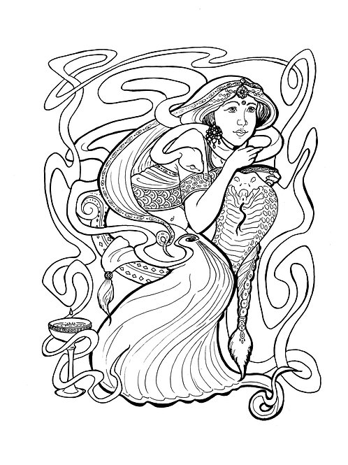 The Snake's Wife - Downloadable Coloring Page - $1