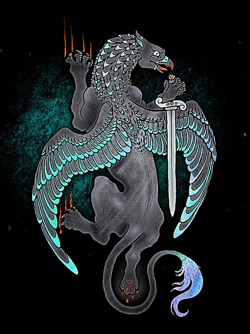 Iridescent Griffin - Print - various sizes - $15 to $35