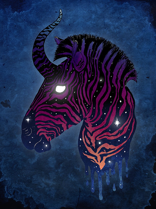 Stellar Zebra - Print - various sizes - $15 to $35