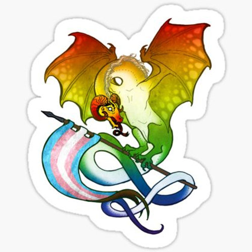 "Trans Pride Dragon - 3""x2.5"" Vinyl Sticker - $5"