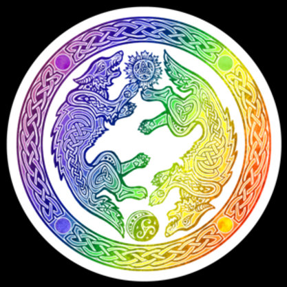 "Rainbow Wolves - 3""x3"" Vinyl Sticker - $5"