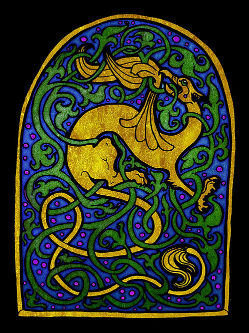 Stained Glass Griffin - Print - various sizes - $15 to $35