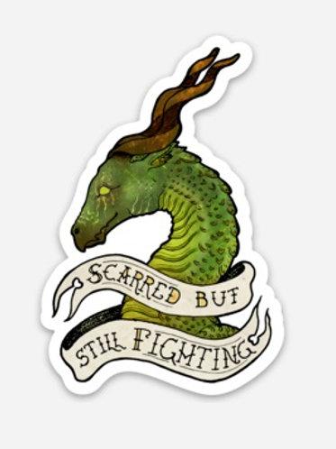 """Still Fighting Dragon - 3""""x2"""" Vinyl Sticker - $5"""