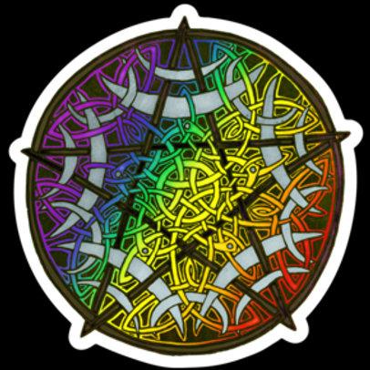 "Rainbow Pentacle - 3""x3"" Vinyl Sticker - $5"