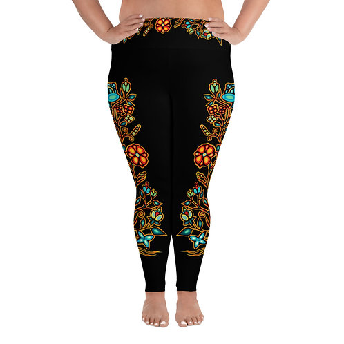 Plus Size Floral Leggings - Black