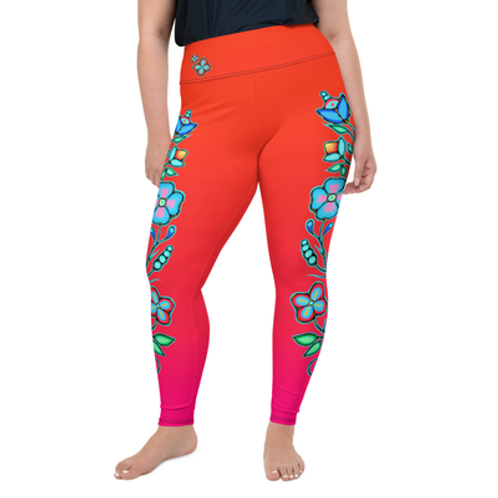 Plus size - Ojibway Floral II Leggings - Red fade