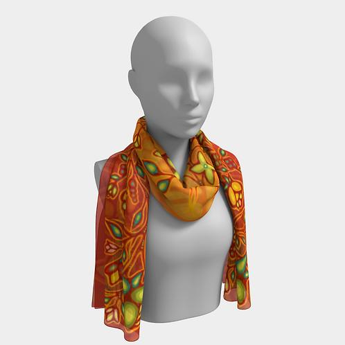 Florals Silk Scarf - Orange