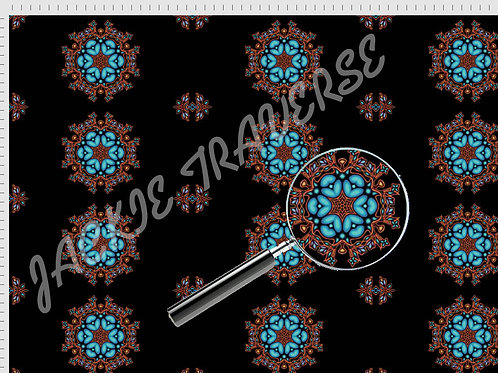 Ojibway Florals II (blue) - Organic cotton fabric
