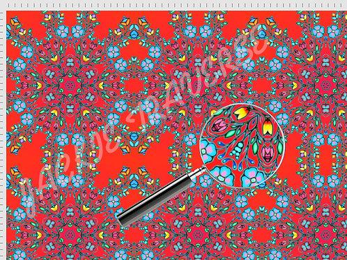 Ojibway Florals IIII (red)  - Organic cotton fabric