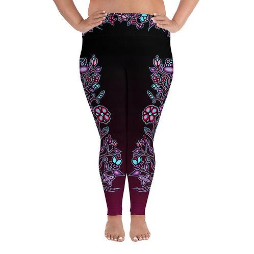 Plus Size Floral Leggings - Lavender