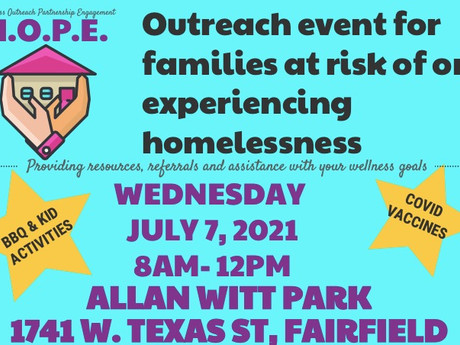 Outreach event for families at risk of or experiencing homelessness