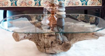 Natural Stump coffee table with Glass