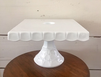"10""  Square White Milk Glass Stand"