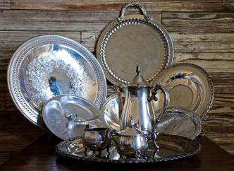 Silver polished and tarnished trays of all sizes- $2.00-$5.00